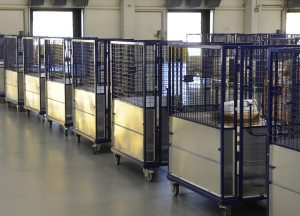 Mail cages ready to be dispatached