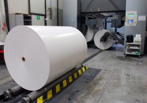 Paper being loaded ready for printing