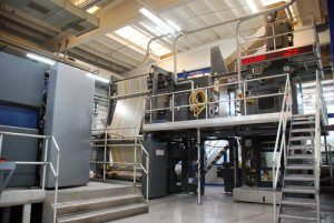 magazine printing press in full flow placed by print management